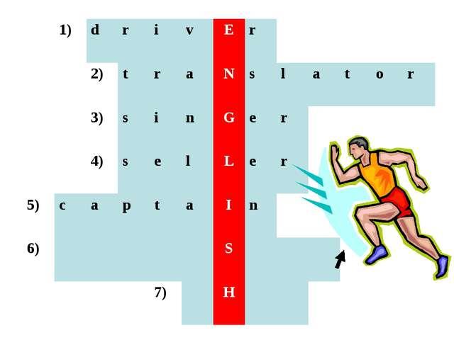 1)drivEr 2)traNslator 3)sinGer 4)sel...