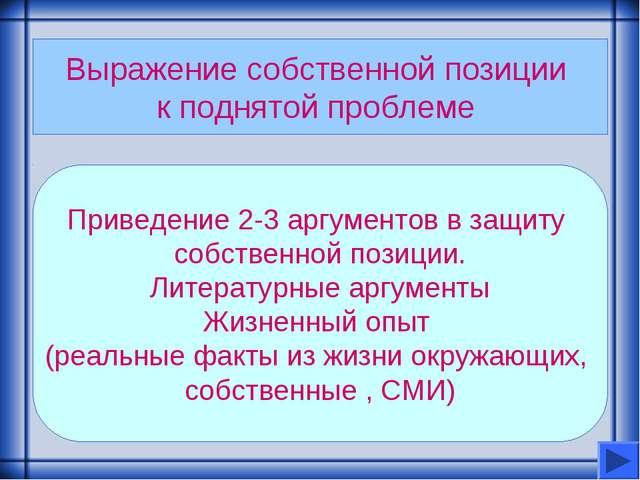 Выражение собственной позиции к поднятой проблеме Приведение 2-3 аргументов в...