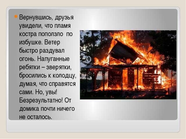 Вернувшись, друзья увидели, что пламя костра поползло по избушке. Ветер быстр...