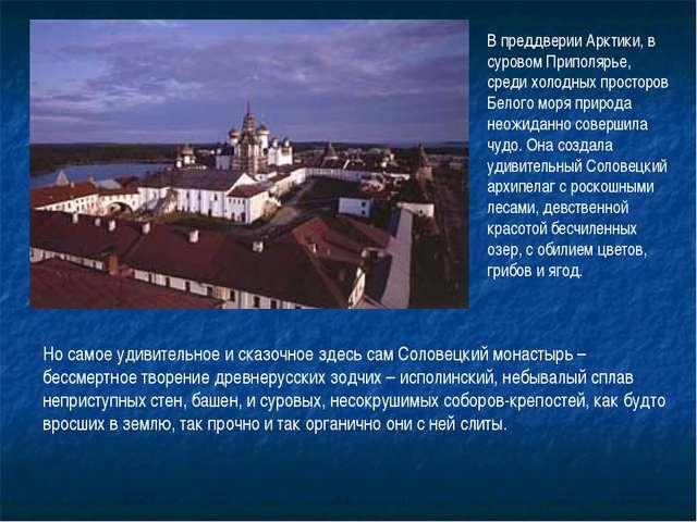 В преддверии Арктики, в суровом Приполярье, среди холодных просторов Белого м...