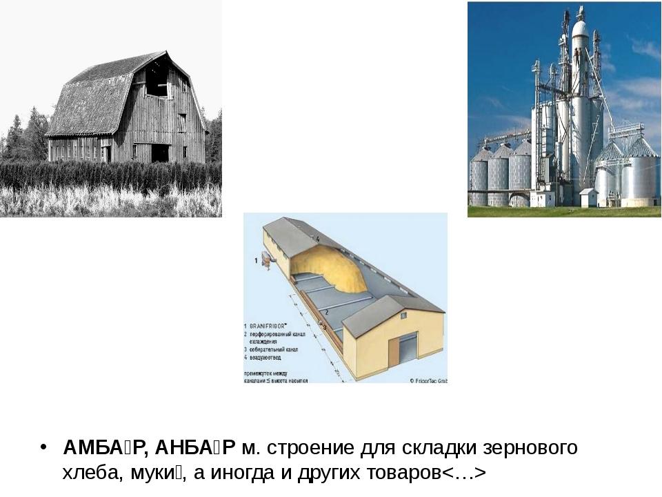 АМБА́Р, АНБА́Р м. строение для складки зернового хлеба, муки́, а иногда и др...