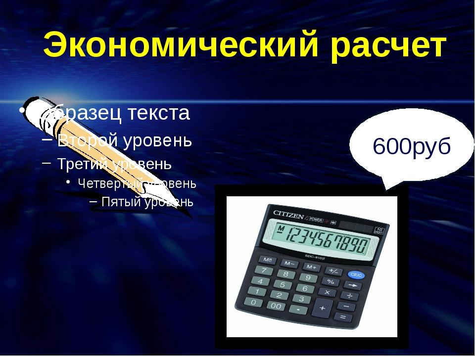 Экономический расчет 600руб