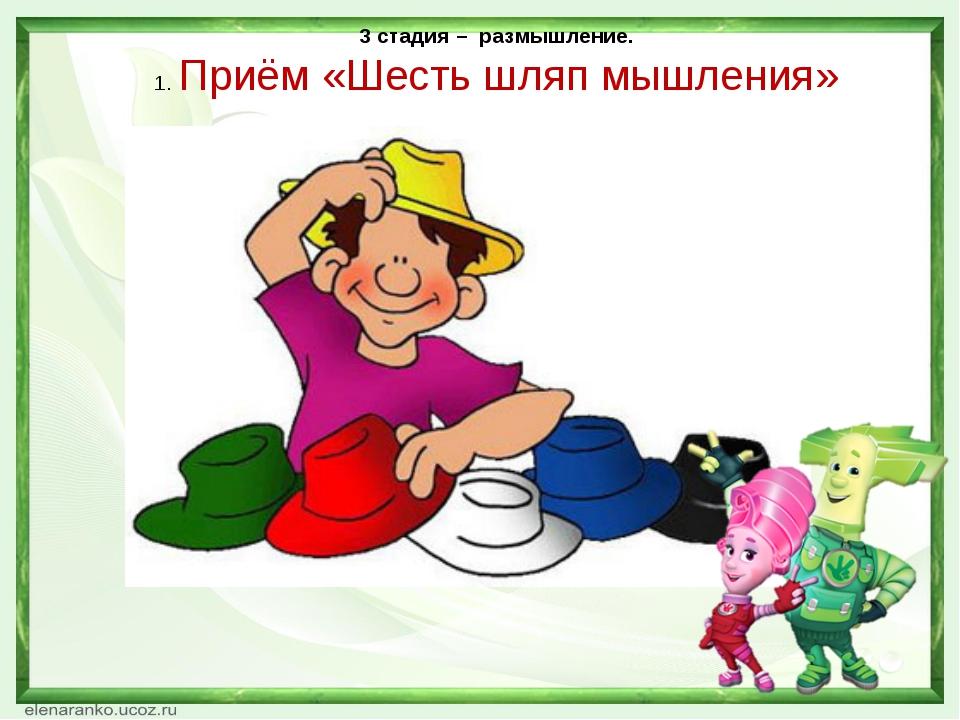 3 стадия – размышление. 1. Приём «Шесть шляп мышления» Непорада Наталия Евген...