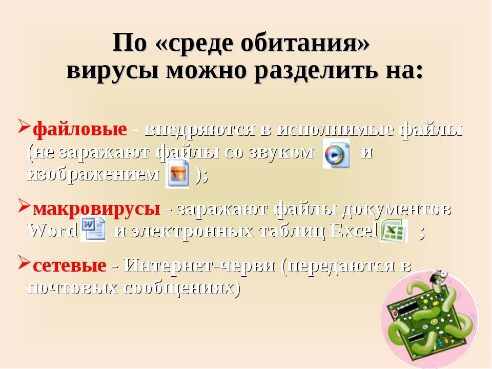 По «среде обитания» вирусы можно разделить на: файловые - внедряются в исполн...
