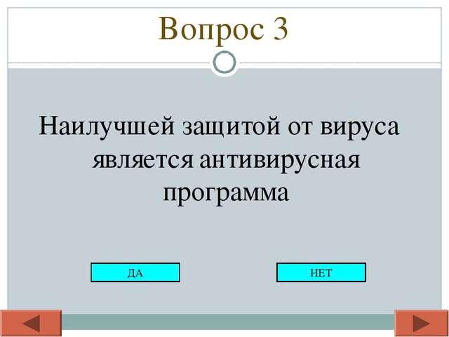 Вопрос 3 Наилучшей защитой от вируса является антивирусная программа ДА НЕТ