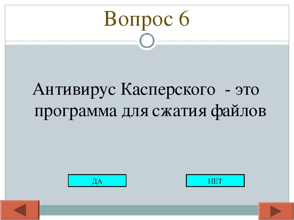 Вопрос 6 Антивирус Касперского - это программа для сжатия файлов ДА НЕТ