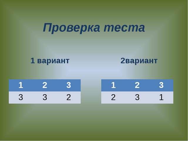 Проверка теста 1 вариант 2вариант 1 2 3 3 3 2 1 2 3 2 3 1