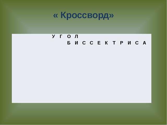 « Кроссворд»  У Г О Л   Б И С С Е К Т Р И С А
