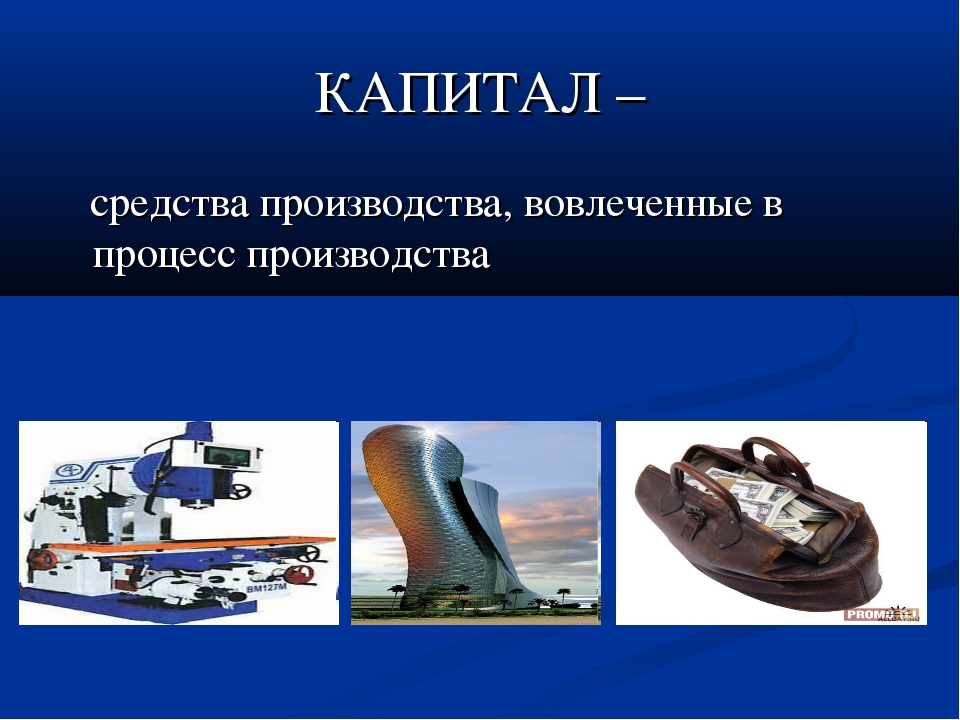 КАПИТАЛ – средства производства, вовлеченные в процесс производства