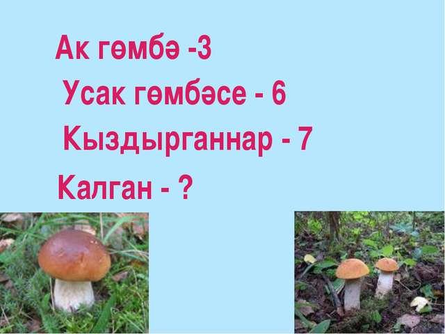 Ак гөмбә -3 Усак гөмбәсе - 6 Кыздырганнар - 7 Калган - ?