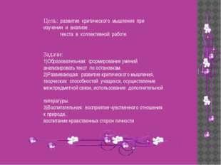 Цель: развитие критического мышления при изучении и анализе текста в коллекти