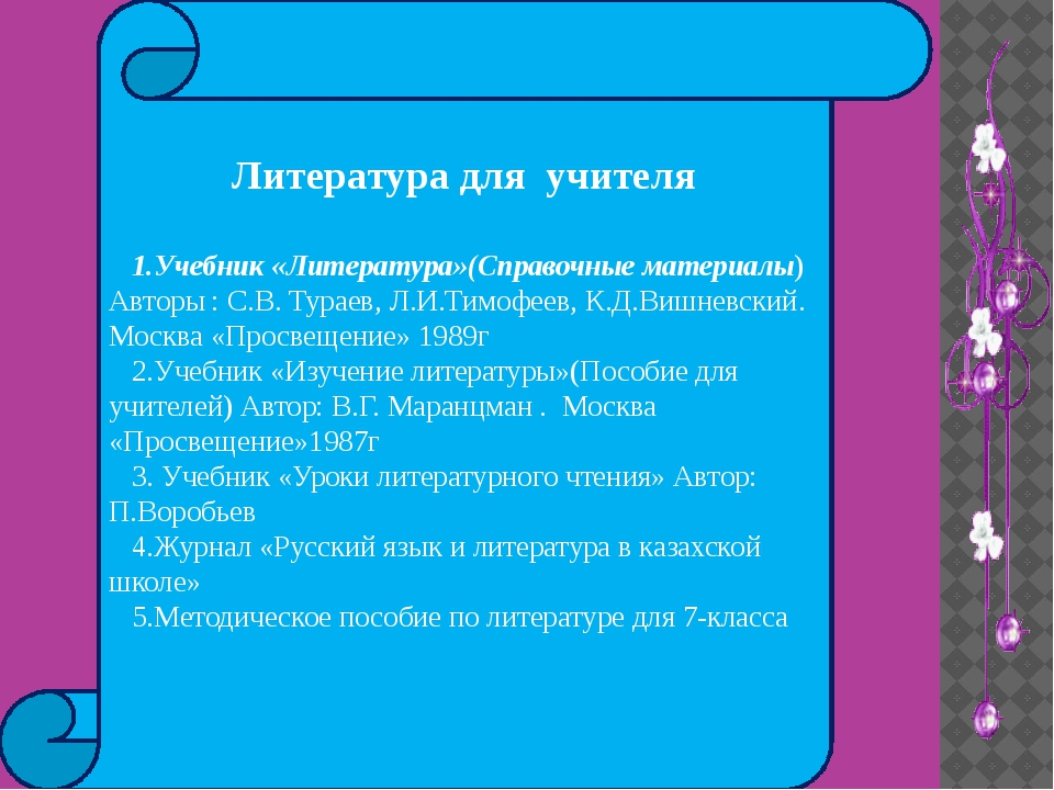 Литература для учителя 1.Учебник «Литература»(Справочные материалы) Авторы :...