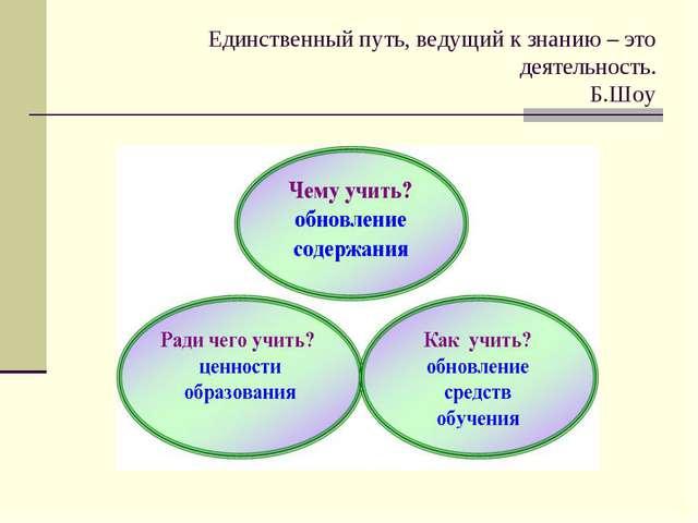 Единственный путь, ведущий к знанию – это деятельность. Б.Шоу
