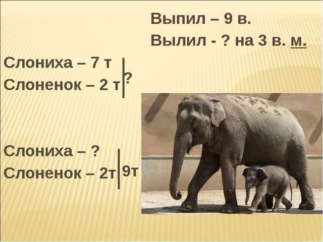 Выпил – 9 в.  Вылил - ? на 3 в. м. Слониха – 7 т Слоненок – 2 т Сл...