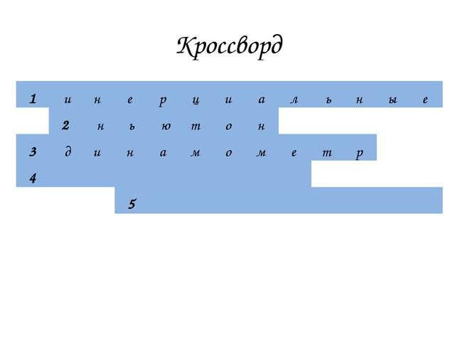 Кроссворд 1инерциальные 2ньютон 3д...