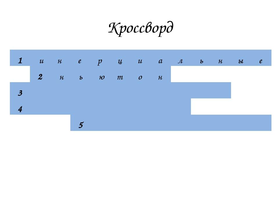 Кроссворд 1инерциальные 2ньютон 3...