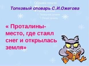 Толковый словарь С.И.Ожегова « Проталины-место, где стаял снег и открылась зе