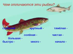 Чем отличаются эти рыбки? глубокий - крупный - тяжёлая - солёная - чистая - б