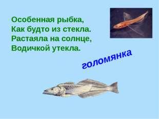 Особенная рыбка, Как будто из стекла. Растаяла на солнце, Водичкой утекла.