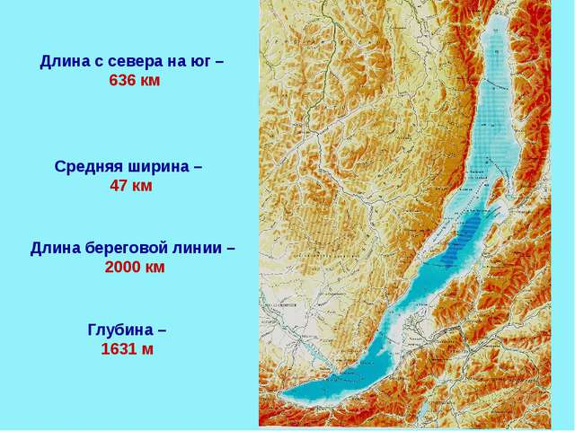Длина с севера на юг – 636 км Глубина – 1631 м Средняя ширина – 47 км Длина б...