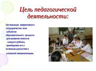 Цель педагогической деятельности: Организация эффективного сотрудничества вс