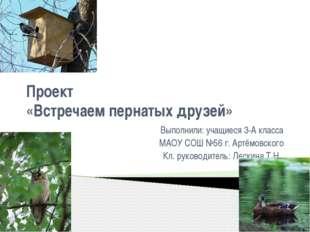 Проект «Встречаем пернатых друзей» Выполнили: учащиеся 3-А класса МАОУ СОШ №5