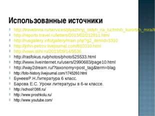 Использованные источники http://travelinna.ru/services/plyazhnyj_otdyh_na_luc