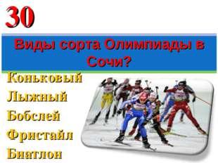 Коньковый Лыжный Бобслей Фристайл Биатлон Виды сорта Олимпиады в Сочи? 30