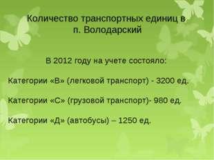Количество транспортных единиц в п. Володарский В 2012 году на учете состояло