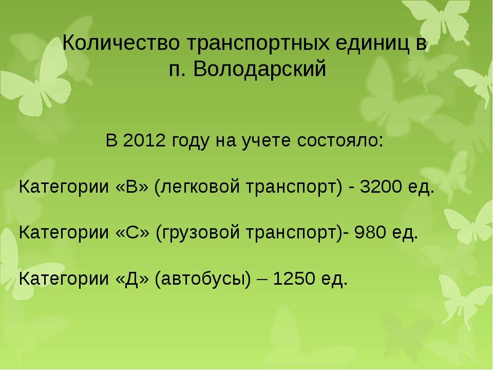 Количество транспортных единиц в п. Володарский В 2012 году на учете состояло...