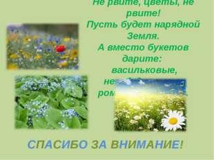 Не рвите, цветы, не рвите! Пусть будет нарядной Земля. А вместо букетов дарит