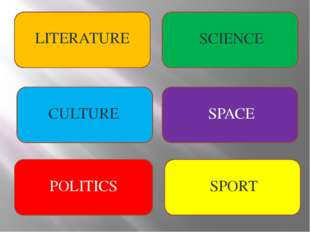 LITERATURE SCIENCE CULTURE SPACE POLITICS SPORT