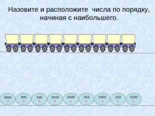 Назовите и расположите числа по порядку, начиная с наибольшего. 3000 Х 300 Я