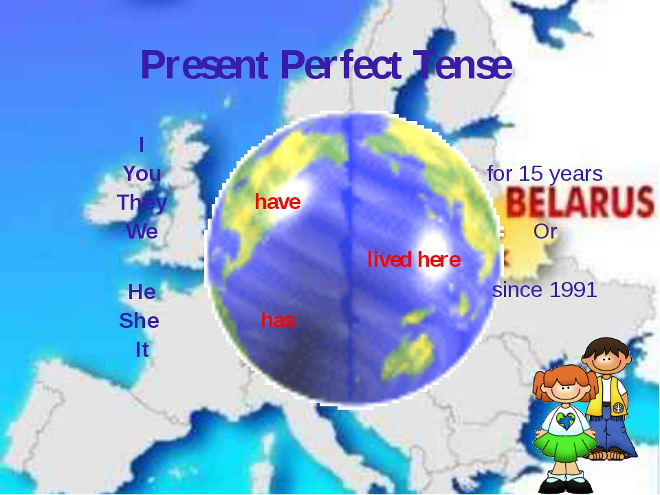 Present Perfect Tense I You They We have lived here for 15 years Or since 199...