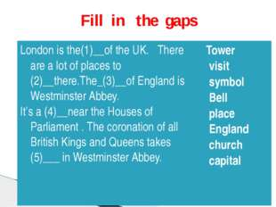 Fill in the gaps London is the(1)__of the UK.There are alot of places to (2)_