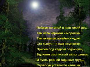 Пойдем со мной в наш тихий лес, Там есть черника и морошка, Там всевозможнейш