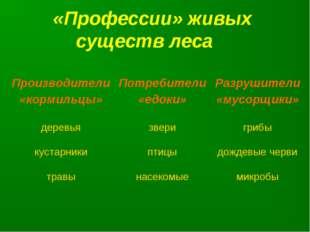 «Профессии» живых существ леса Производители «кормильцы»Потребители «едоки»