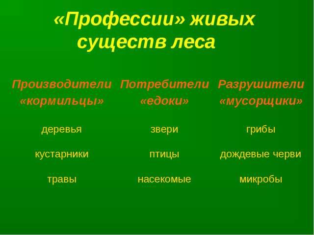 «Профессии» живых существ леса Производители «кормильцы»Потребители «едоки»...