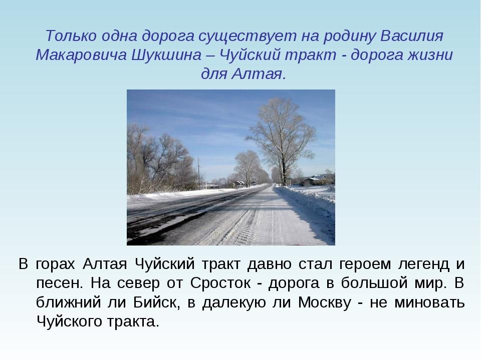 Только одна дорога существует на родину Василия Макаровича Шукшина – Чуйский...