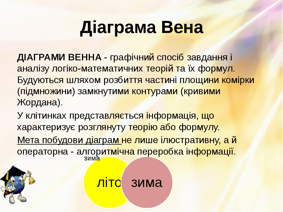 Діаграма Вена ДІАГРАМИ ВЕННА - графічний спосіб завдання і аналізу логіко-мат...