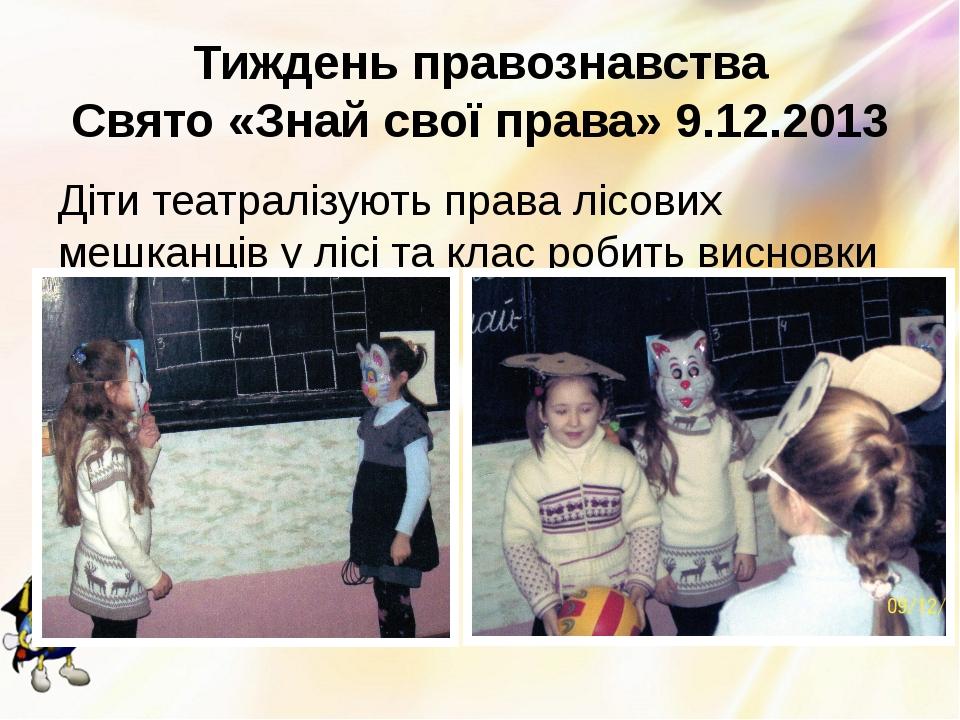 Тиждень правознавства Свято «Знай свої права» 9.12.2013 Діти театралізують пр...