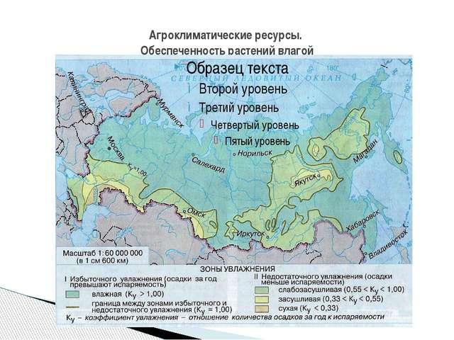 Агроклиматические ресурсы. Обеспеченность растений влагой