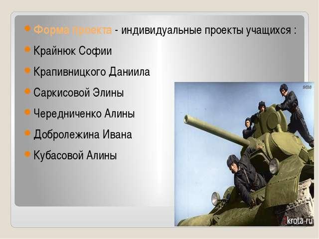 Форма проекта - индивидуальные проекты учащихся : Крайнюк Софии Крапивницкого...