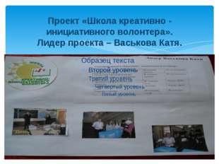 Проект «Школа креативно - инициативного волонтера». Лидер проекта – Васькова