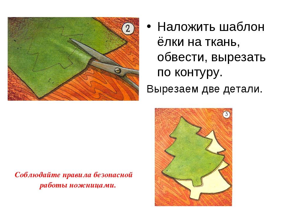 Наложить шаблон ёлки на ткань, обвести, вырезать по контуру. Вырезаем две дет...