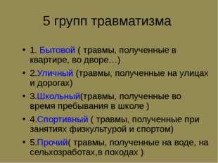 5 групп травматизма 1. Бытовой ( травмы, полученные в квартире, во дворе…) 2.