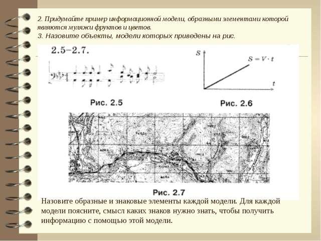 2. Придумайте пример информационной модели, образными элементами которой явля...