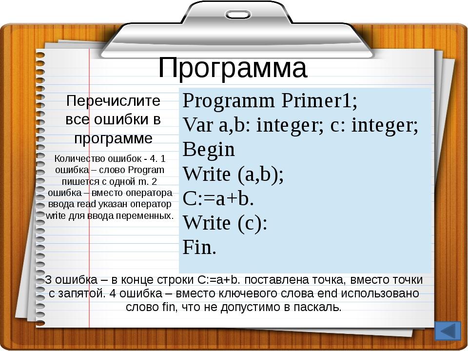 Программы на Паскаль - 80 Вопрос: Что будет выведено в результате выполнения...