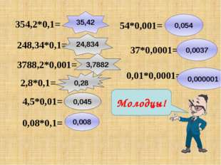 354,2*0,1= 35,42 248,34*0,1= 24,834 3788,2*0,001= 3,7882 2,8*0,1= 0,28 4,5*0,