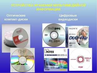 УСТРОЙСТВА ХРАНЕНИЯ МУЛЬТИМЕДИЙНОЙ ИНФОРМАЦИИ Оптические компакт-диски Цифров